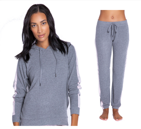 SOFT EMBROIDERED SIDE SLIT LOUNGEWEAR SET