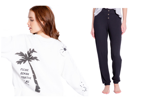 Cheers! Long Sleeve Pullover Crew and Jogger Stretch Jersey PJ Set