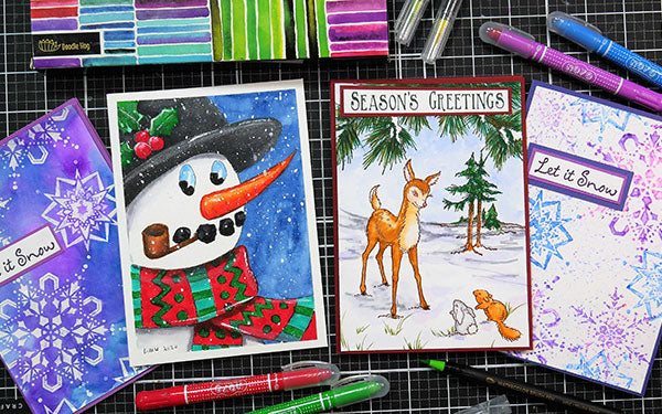 YouTube Star Lindsay Weirich Shows How To Create Four Dazzling Holiday Cards Using NOYOS and Watercolors