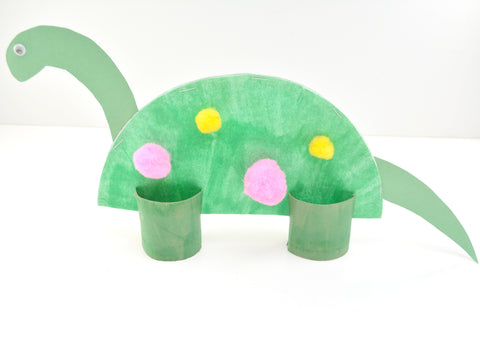 Place the bottom of your paper plate dinosaur into the slits on the toilet paper rolls one in the front of the dinosaur and one in the back to form legs.  sc 1 st  Doodle Hog & Paper Plate Dinosaur \u2013 Doodle Hog