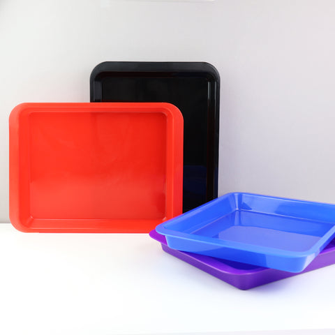 Set of 4 - Activity Plastic Tray - Art + Crafts Organizer Tray (Red, Blue, Purple, Black)