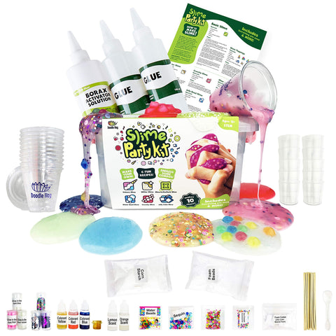 Incredible Slime Party Supplies Kit for 10 Girls and Boys. Kit Includes 10 Storage & Over 100 Pieces