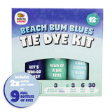 Aqua & Blue Tie Dye Colors in Beach Bum Blues Tie Dye Kit (Tye Dye Kit). Custom Clothing Dye with 6 Refills for Multiple Projects, Soda Ash, Ties