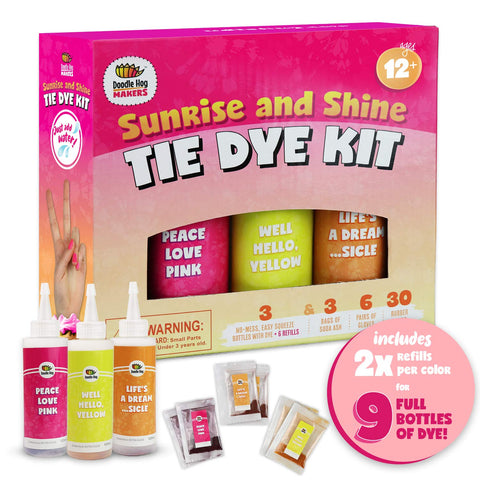 Orange, Yellow, Pink Tie Dye Colors in Sunrise & Shine Tie Dye Kit (Tye Dye Kit). Custom Clothing Dye with 6 Refills for Multiple Projects