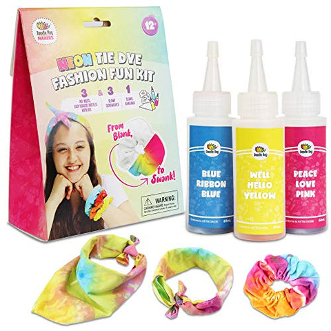 3 Pack Neon Fashion Fun Kit has 3 Brilliant Colors in Easy-Squeeze Bottles