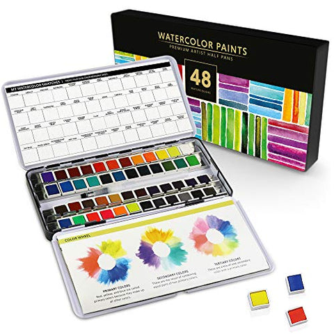 The Ultimate 48 Premium Watercolor Half Pan Set in Metal Palette with True to Color Watercolor Paints, Refillable Water Brush, Technique Guide, and a Swatch Sheet for Artists On-The-Go!