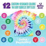 Doodlehog 12 Colors Easy Tie Dye Party Kit for Kids, Adults, and Groups