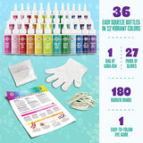 36 Bottles, 244 Items Tie Dye Party Kit: Rainbow Classic is The Ultimate kit with 12 Vibrant Colors in Easy-Squeeze Bottles, Ties and dye Technique Guide for Endless DIY Possibilities! (36 Pack)