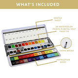 24 Premium Watercolor Half Pans in Adjustable Metal Palette with True to Color Watercolor Paints, Refillable Water Brush, Technique Guide, and a Swatch Sheet for Artists On-The-Go!