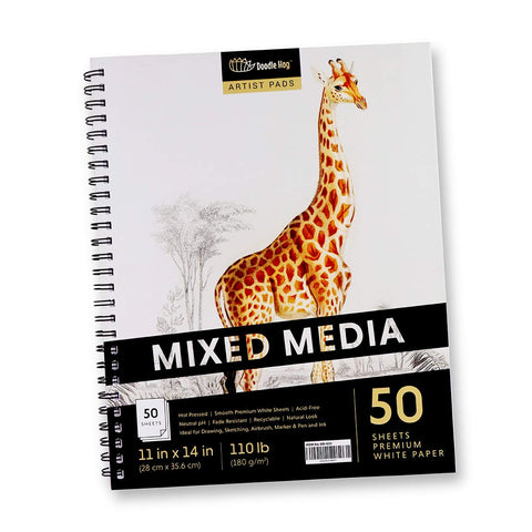 Large Mixed Media Student Sketchbook for Drawing & Sketching Pad (11x14 White, Perforated, 110lb / 180gsm Sketch Pad)