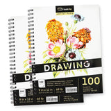 2-Pack 100 Sheets 9 x 12 Inch Sketch Pads for Drawing (Perforated, 100gsm / 68lbs Drawing Paper)