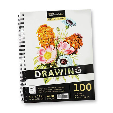 9 x 12 Inch Student Sketchbook for Drawing & Sketching. (100 Sheets , White, Perforated, 100gsm / 68lbs)