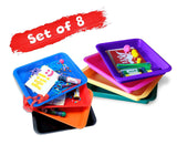Set of 8 Kids Activity Plastic Tray - RAINBOWs Color - Art + Crafts Organizer Tray