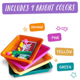 Set of 4 - Activity Plastic Tray - Art + Crafts Organizer Tray (Pink, Yellow, Green, Orange)