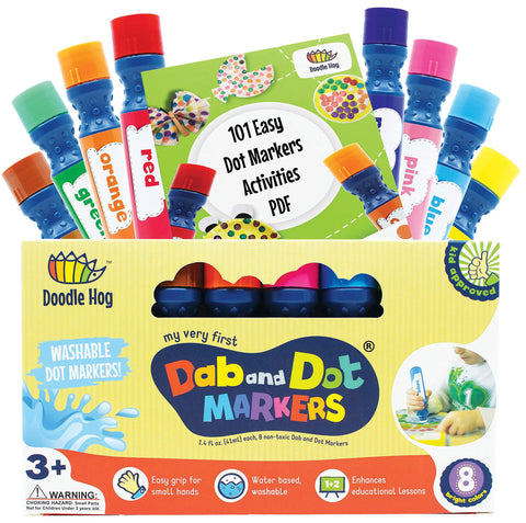 Washable 8 Colors Dot Markers Pack Set. Fun Art Supplies for Kids, Toddlers and Preschoolers. Non Toxic Arts and Crafts Supplies. Includes 200 Plus Fun Downloadable Coloring PDF Sheets