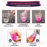 No Glue. Shake Slime Kit for Girls and Boys. Everything You Need for 10 Kinds of Shaker Slime. No Mess. Just Add Water, Mix, and Shake. Includes Fun Toppings and Take-Home Storage Cups