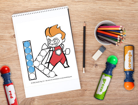 Free Download | Lower Case Letter Superhero Alphabet Dot Worksheets