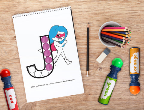 Free Download | Upper Case Letter Superhero Alphabet Dot Worksheets