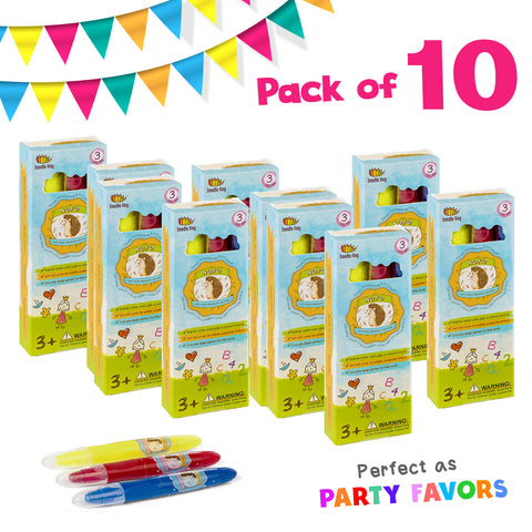 NOYO Crayons 3 Color (Case of 10, Party Favor Set)