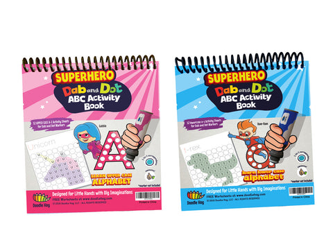 Combo SuperBoy and SuperGirl Dot Marker Activity Sheets/Coloring Book