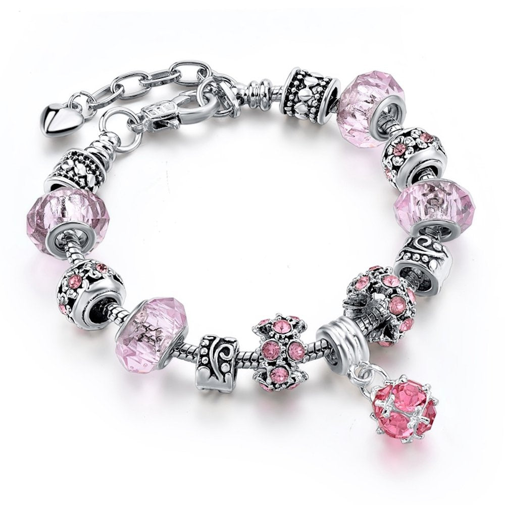 63eea853c76c6 MYSTIQS Handmade Bracelet with Carved Plated Charms, Sparkly Murano  Crystals & Snake Chain