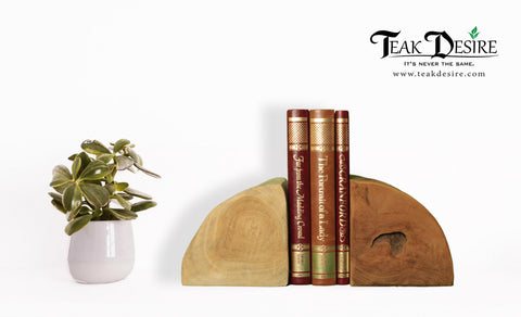 Teak Root Solid Wood Half Log or Block Bookends Chopped and Shaped Bookshelf - Teak Desire