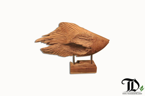 Fish Sculpture on Stand - Reclaimed Teak Root - Teak Desire