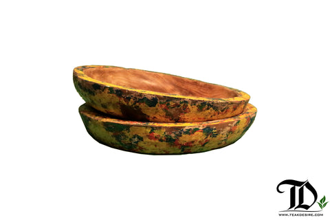 Boat Paint Colourful Teak wood Plate  - 30cm - Teak Desire
