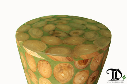 Teak Wood Root Epoxy Resin Filled Cylinder Round Side Table, End Table, Accent Table, Festive Green - Teak Desire
