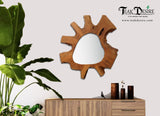 Teak Root Solid Wood Mirror Natural Shape Rustic Reclaimed Unique Home Decor Hallway Fireplace Display Acak - Teak Desire