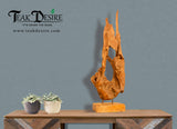 Reclaimed Teak Wood Art Decor on Stand, Display Piece, Showpiece, Sculpture, Unique, Teak Root, Modern Art, Erosion Wood - Teak Desire