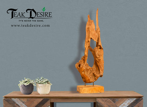 Erosion Art Deco Reclaimed Teak Root  - 60cm to 80cm - Teak Desire