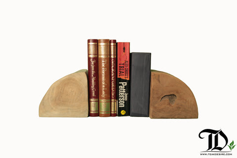 Half Log or Block Bookends (Per Pair) - Teak Desire