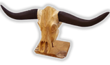 Buffalo Head Wood Sculpture with Large Horns -  Reclaimed Teak - Display Piece Decorative - Teak Desire
