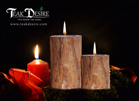 Teak Wood Root Tealight Candle Holder (Set of 2) - Teak Desire