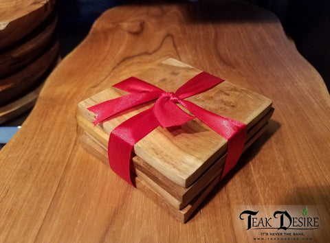 Square Teak Wood Coasters -  Set of 4 - Teak Desire