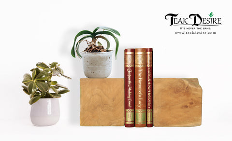Teak Root Solid Wood Half Log or Block Bookends Chopped and Shaped - Teak Desire