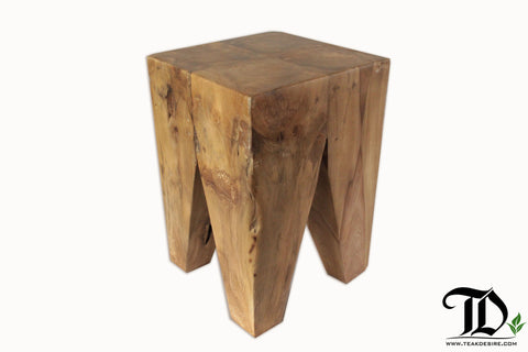 Reclaimed Teak Diamond stool - Teak Desire