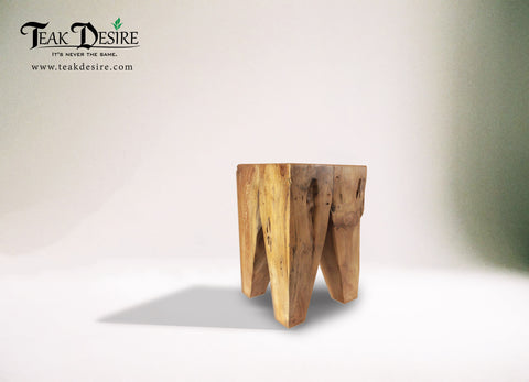 Diamond stool - Teak Root Solid Wood Side Table, Accent Table, End Table, Tea Coffee, Sofa Side Table - Teak Desire