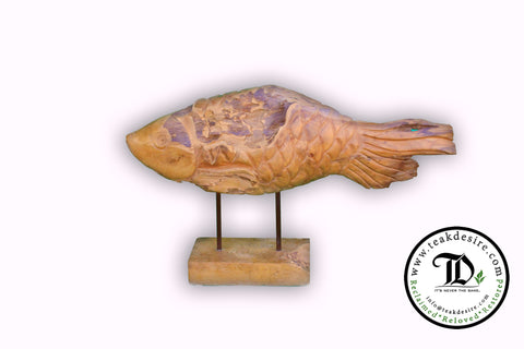 Teak Wood Fish Sculpture - Reclaimed Display Piece Decorative - Teak Desire