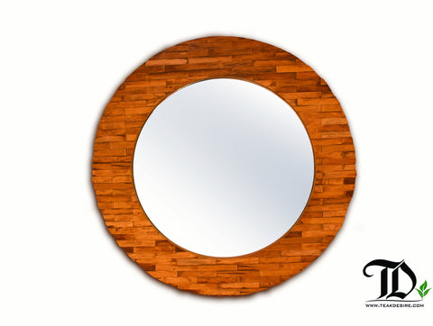 Reclaimed Teak Wood Round Mirror 3D effect for Hallway, Living Room, Fireplace - Teak Desire