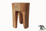 Teak Root Solid Wood 3 Legged Gigi Round Stool, Side Table, Accent Table - Teak Desire