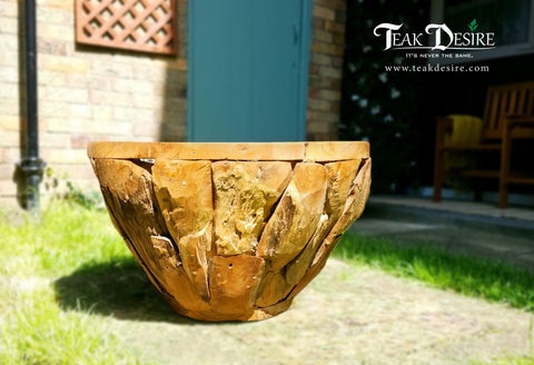 Massive Wood Planter Pot - Garden Display, Large Planter, Huge Wood Planter, Firewood storage, Palm tree planter - Teak Desire