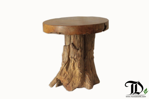 Reclaimed Teak Wood Root Mushroom Side Table, Accent Table, Stool - Teak Desire