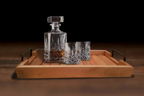Teak Wood Tray with Metal Handle - Drinks, Tea Coffee Whisky, Wine, Hallway Rectangle EXCLUSIVE - Teak Desire