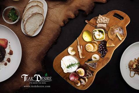 Teak Root Solid Wood Board - 50cm - Chopping, Cutting, Serving Cheese Deli Share Platter Display Kitchen - Teak Desire