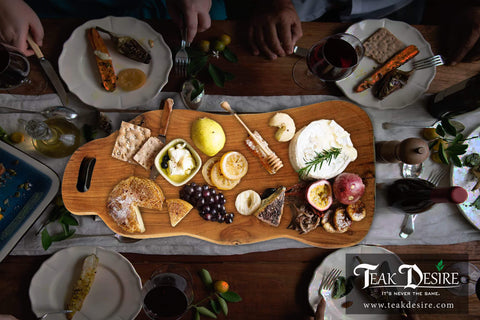 Teak Root Solid Wood Board - 60cm - Chopping, Cutting, Serving Cheese Deli Share Platter Display Kitchen - Teak Desire