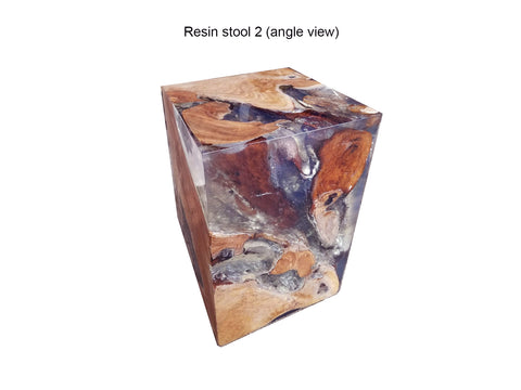 Teak Wood Root Epoxy Resin Filled Cube Side Table, End Table, Accent Table - Teak Desire