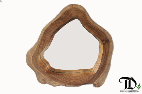 Roda Mirror with Natural Shape Wood Frame - Display Decorative Hallway, Living, Spa, Bathroom, Office - Teak Desire