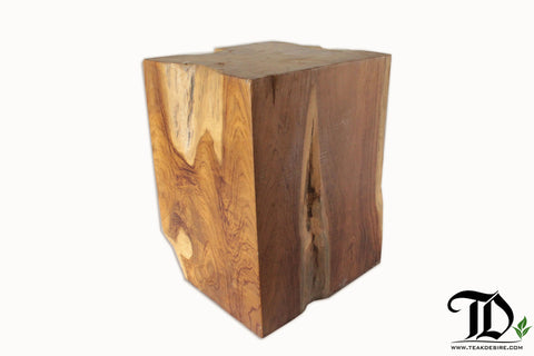 Teak Root Wood Cube Block Stool - Teak Desire
